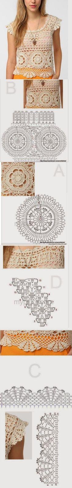 Blusa simples e bonita de Alklroshih por unidades porção circular no meio deles ..