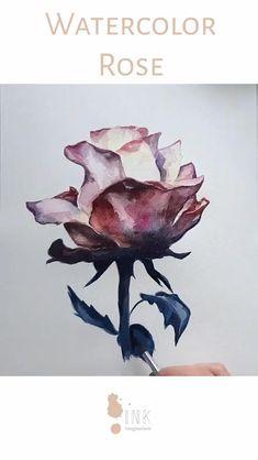 Watercolor Video, Watercolour Tutorials, Watercolor And Ink, Watercolor Flowers, Watercolor Paintings, Watercolor Artists, Flower Paintings, Watercolor Portraits, Painting Tutorials