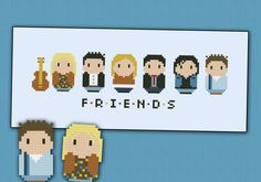 "For the TV series ""Fiends"", a cross stitch pattern featuring: Phoebe, Joey, Rachel, Ross, Chandler and Monica"