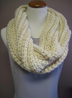 Winter White Wool Infinity Scarf