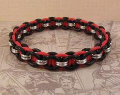 Helm Stretch Bracelet in Red, Black & Silver - Edit Listing - Etsy