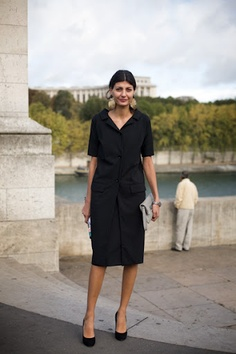 I love this - a very long blazer with short sleeves over a dress or skirt.