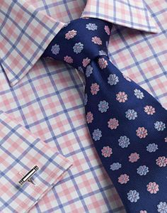 Blue pink check with tie