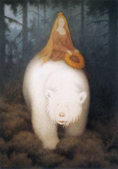 White Bear King Valemon (a norwegian fairy tale - Kvitebjørn Kong Valemon) - The painting is painted by Theodor Kittelsen East Of The Sun, Children's Book Illustration, Troll, Vikings, Illustrators, Fantasy Art, Fairy Tales, Artsy, Drawings