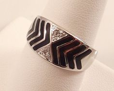 Ladies Clear CZ with Black Enamel -Silver Ring~Size 4 Free Gift Box