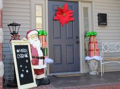 Front Porch Winter 2015 - Big beautiful poinsettia for your front door! I love the dramatic effect my huge poinse. Christmas Snowman, Christmas Holidays, Xmas, Christmas Ornaments, Merry Christmas, Christmas Projects, Holiday Crafts, Holiday Fun, Holiday Ideas