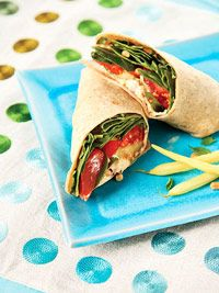 Mediterranean Wrap--Zuchinni, Hummus, Pine Nuts, Tomatoes, and Spinach (373 calories)