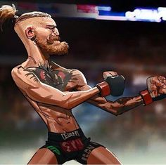 """""""Stay Ready"""" stance of Notorious Conor McGregor, as funny digital art Funny Caricatures, Celebrity Caricatures, Muay Thai, Jiu Jitsu, Boxe Mma, Conner Mcgregor, Notorious Conor Mcgregor, Conor Mcgregor Funny, Arte Hip Hop"""