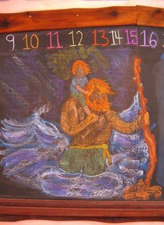 Saint Christopher crossing the river with the baby Jesus on his back - a lovely representation Blackboard Drawing, Chalkboard Drawings, Chalkboard Art, Christopher Cross, Saint Christopher, Crayon Drawings, Chalk Drawings, Teaching Second Grade, Form Drawing