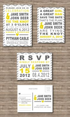 Chevron Yellow U0026 Grey Wedding Save The Date, Invitation And RSVP Postcard