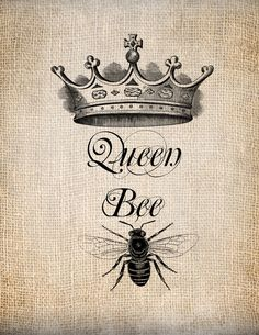 Antique Queen Bee Crown Script Illustration Digital Download for Papercrafts, Transfer, Pillows, etc. Burlap No 1243. $1.00, via Etsy.