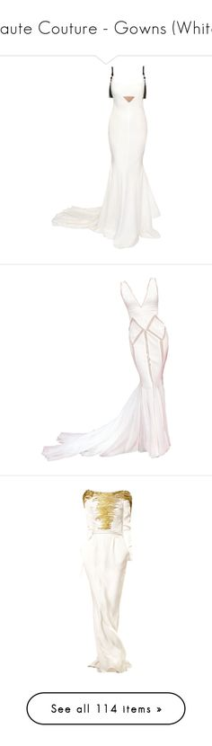 """""""Haute Couture - Gowns (White)"""" by giovanna1995 ❤ liked on Polyvore featuring white, gown, hautecouture, edited, dresses, gowns, vestidos, red carpet gowns, red carpet dresses and red carpet evening gowns"""