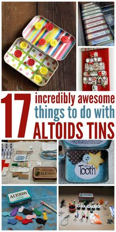 17 Incredibly Awesome Things to Do With Altoids Tins Use them to organize drawers, make travel toys for your kids and so much more. Well, here are 17 Altoids tin ideas to inspire you. Tin Can Crafts, Cute Crafts, Crafts To Make, Crafts For Kids, Diy Crafts, Upcycled Crafts, Geek Crafts, Repurposed, Sewing Crafts