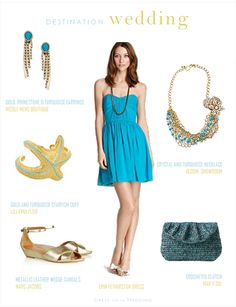 Turquoise and gold for a beach or destination wedding