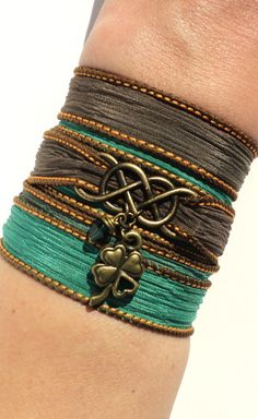 Hey, I found this really awesome Etsy listing at https://www.etsy.com/listing/183469809/infinity-silk-wrap-bracelet-lucky-four