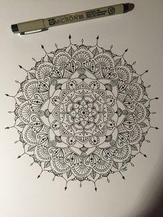 Mandala. Pen and protractor. Pen and ink. Doodle. Zendala