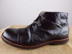 UGG Leighton Leather Chocolate Brown Crinkle Desert Chukka Boot Men 10 EU 43 #UGGAustralia #ChukkaBoot