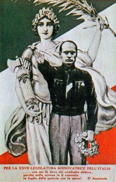 Early art featuring Mussolini and Mother Italy.