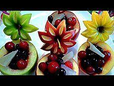 Украшения из фруктов. Карвинг из яблок. Очень красивый десерт! Decorations from fruits