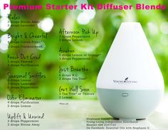Diffuser Blend recipes using essential oils from Young Living's premium starter kit.