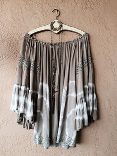 Image of Surf Gypsy Ombre tie dyed beach bohemian of shoulder tunic