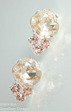 Peach and cream wedding   Peach earrings   Peach crystal earrings   #EndoraJewellery