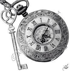 My pocket watch and key tattoo Old Clock Tattoo, Clock Tattoo Design, Tattoo Designs, Pocket Watch Drawing, Pocket Watch Tattoos, Key Drawings, Tattoo Drawings, Sketch Tattoo, Rolex Wallpaper