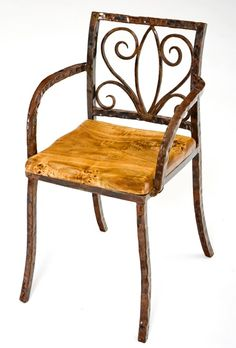 Forged Metal Chair   Scroll Design   Wood Seat   Item # DC06021   Also  Available
