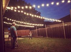 49 Awesome Patio Yard String Lights Ideas - For the Home - Outdoor Backyard Party Lighting, Backyard String Lights, Outdoor Lighting, Outside Lighting Ideas, String Lighting, Fence Lighting, Ceiling Lighting, How To Hang Patio Lights, Indoor Outdoor