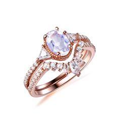 Oval Moonstone Engagement Ring Bridal Sets Pearl Diamond Tiara Wedding Band 14k Rose Gold 5x7mm - 6 / 14K Rose Gold