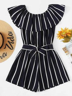 Shop Striped Ruffle Hem Knot Romper at ROMWE, discover more fashion styles online.