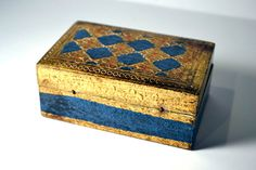 Early Vintage Gold Gilt Italian Miniature Decorative Wooden Box