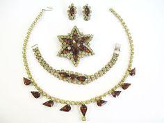 Vintage Juliana D&E Delizza Bracelet Earrings Brooch Necklace Parure Full Set #Juliana