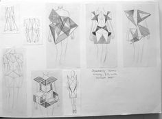 Fashion Sketchbook - 3D geometric fashion design drawings & development; fashion portfolio // Rosa Kramer