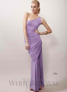 Esme by Pia Gladys Perey. One shoulder maxi dress featuring ruched side detailing and a side split. Stretchy jersey material.