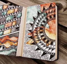 Moleskine 02, #057. Mandala, zentangle pattern and lettering in moleskine journal. Warm tone, earthy paints.