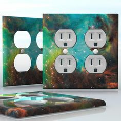 DIY Do It Yourself Home Decor - Easy to apply wall plate wraps | Green and Brown Nebula  Beautiful color composition in space  wallplate skin sticker for 2 Gang Wall Socket Duplex Receptacle | On SALE now only $4.95