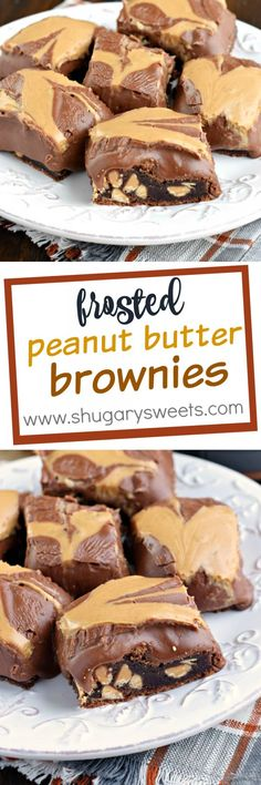 Peanut Butter Brownies: fudgy, homemade brownies with a thick chocolate frosting and swirls of creamy peanut butter! If you love chocolate peanut butter treats, you're going to LOVE these!