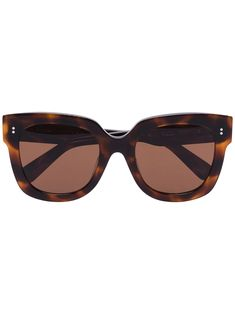 Brown tortoiseshell-effect square sunglasses from Chimi featuring straight arms with angled tips, oversized frames, tinted lenses and UVA and UVB protection. This item comes with a protective case. Polka Dot Jeans, Smart Buy, Nobody Denim, Straw Tote, Tortoise Shell, Protective Cases, How To Introduce Yourself, Eyewear, Lenses