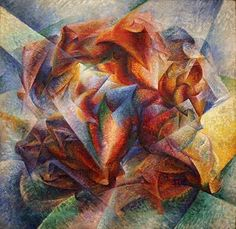 """Summer Olympics - Day 15: #Soccer. """"To paint a human figure you must not paint it; you must render the whole of its surrounding atmosphere . . . movement and light destroy the materiality of bodies."""" Italian Futurist painter #UmbertoBoccioni synthesized time, place and matter into flurries of color in 'Dynamism of a Soccer Player'. If you are lucky, you might distinguish the soccer player's firmly sculpted calf, at center.  The work is in the collection of  @themuseumofmodernart in New York…"""