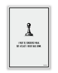Never Back Down Chess Motivational Poster
