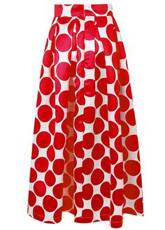 Genluna Women's Fashion Chiffon White Contrast Polka Dot Print Maxi Skirt *** You can find out more details at the link of the image.