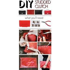 """""""DIY: Studded Leather Clutch"""" by polyvore-editorial on Polyvore"""