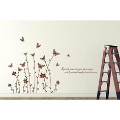 Butterfly Flower Wall Sticker 3D Flower Butterfly Wall Decal DIY Removable