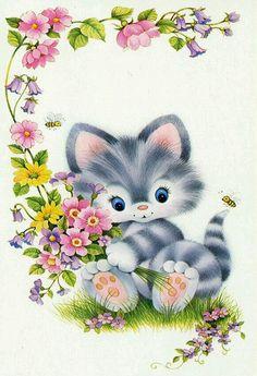 Sweet kitten illustration.       Gatinho cinza