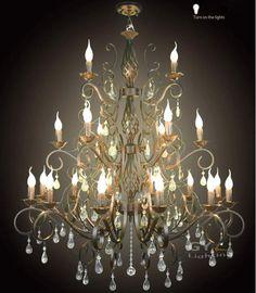 AC100-240V 105*107cm 21pcs E14 candle Wrought Iron chandelier light Crystal chandelier fixtures Pendant lamps lustre decorative