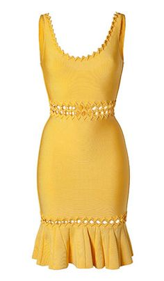 Herve-Leger Anais Diamond Open-Applique Dress Yellow Only $240.90  Round-neck.  Sleeveless. Diamond-shaped appliques at neckline and shoulder straps. Cutout detail at waist and hem. Ruffled hem. Concealed center back zipper with hook-and-eye closure. Rayon, Nylon, Spandex. To maintain the beauty of your garment, please follow the care instructions on the attached label. Dry clean.