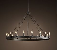 Halo chandelier - Restoration Hardware - CAMINO ROUND CHANDELIER SMALL  $695  Rustic in style, simple in form and grandly sized, our hand-forged chandelier designed by industrial blacksmith Jon Sarriugarte makes an elegant statement. Drawing inspiration from early 20th century industrial fixtures, it's built of stout angle iron.