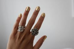 This color of nail polish and I love the rings.......Perfect!