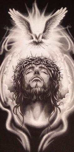 God and Jesus Christ Jesus Tatoo, Croix Christ, Gott Tattoos, Body Art Tattoos, Sleeve Tattoos, Christus Tattoo, Religion Tattoos, Jesus Drawings, Pictures Of Jesus Christ